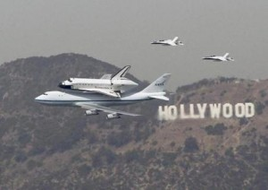 Space Shuttle over Hollywood